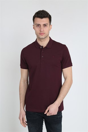 Erkek Polo Yaka Cepsiz Basic T-Shirt 20Y-3400667-2 Bordo
